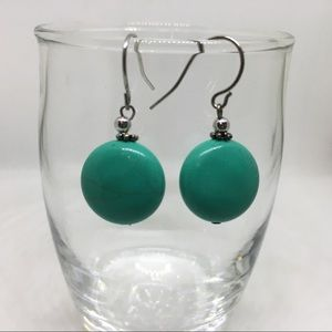 Round turquoise color dangle drop earrings